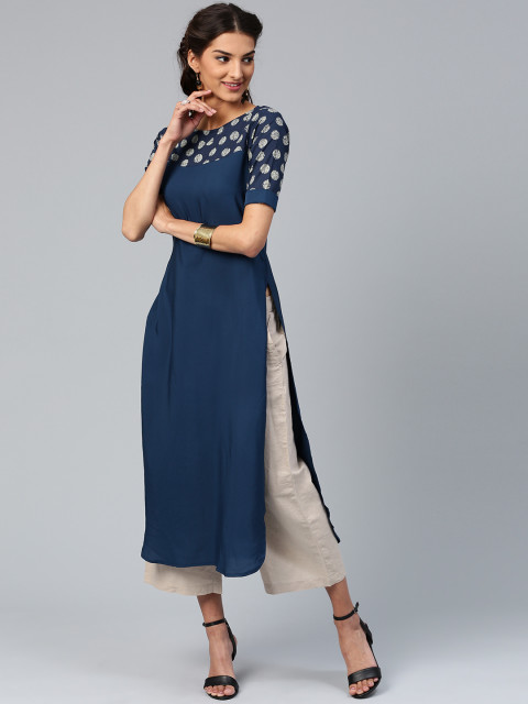 Myntra : Libas Women Navy Solid Straight Kurta at Rs.499